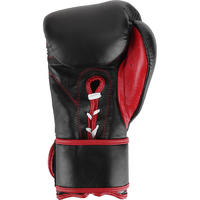 PREMIUM LEATHER LACE UP BOXING GLOVES - BLACK