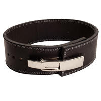 Lever Belt - Black Polished Leather
