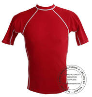 Red Shorts Sleeves Rash Guards